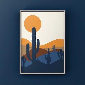 Mid century modern desert cactus sunset art print